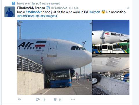Air-Journal-Mahan Air Istanbul incident Twitter