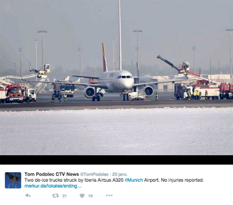 Air-journal-A320 Iberia collision degivrage Twitter Tom Podolec CTV News