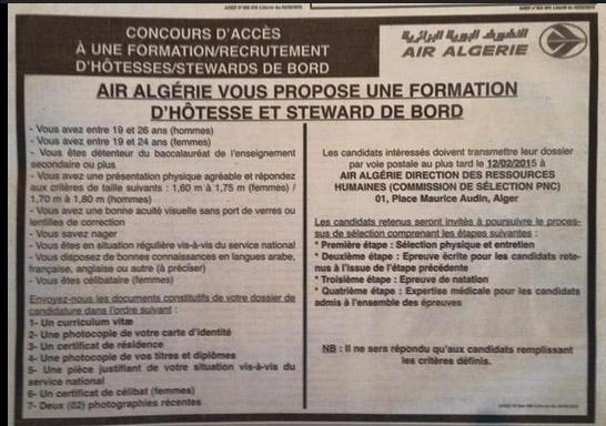 Les Hotesses De L Air D Air Algerie Doivent Commencer Leur