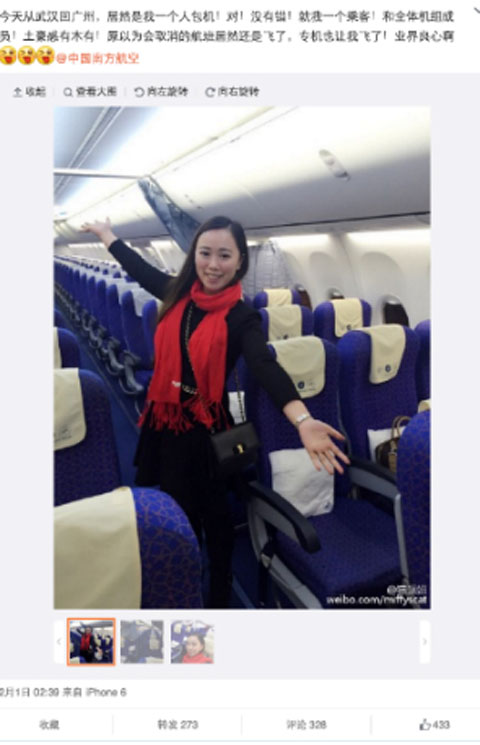 Air-journal-passagere chinoise unique 737-Weibo