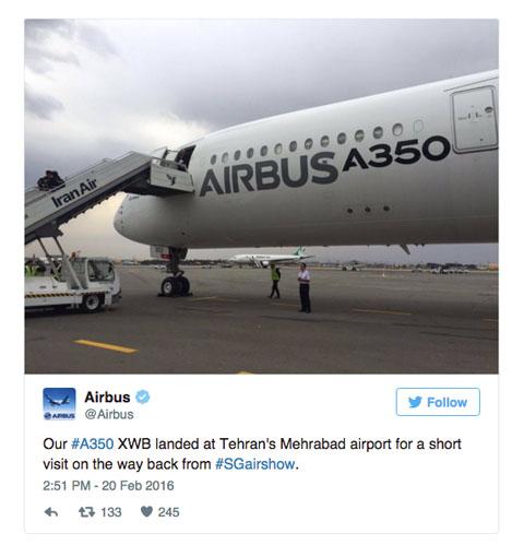 Air-journal_A350 Iran_Twit Airbus