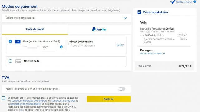 Ryanair changes the price of tickets according to the 1 Air Journal bank card