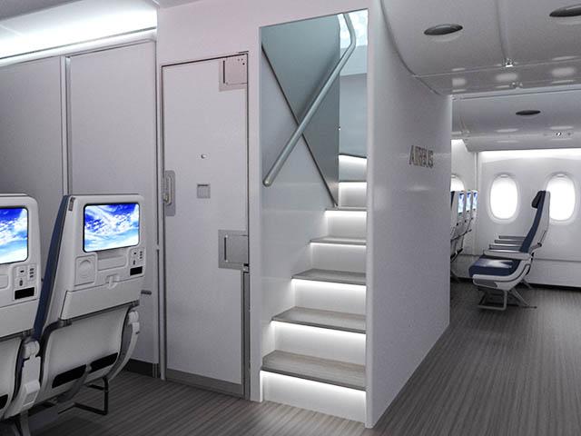 Airbus un escalier pour densifier l a380 une filiale for Airbus a380 photos interieur