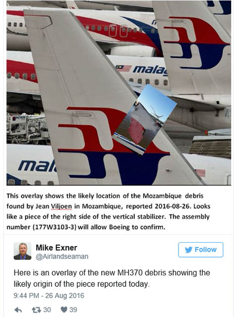 air-journal_MH370 Mozambique debris impact expert@Mike Exnert