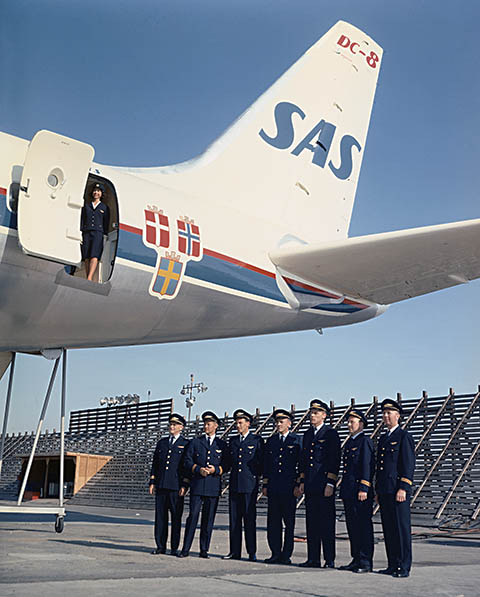 SAS DC-8-33. Folke Viking 1965 at Long Beach airport before delivery