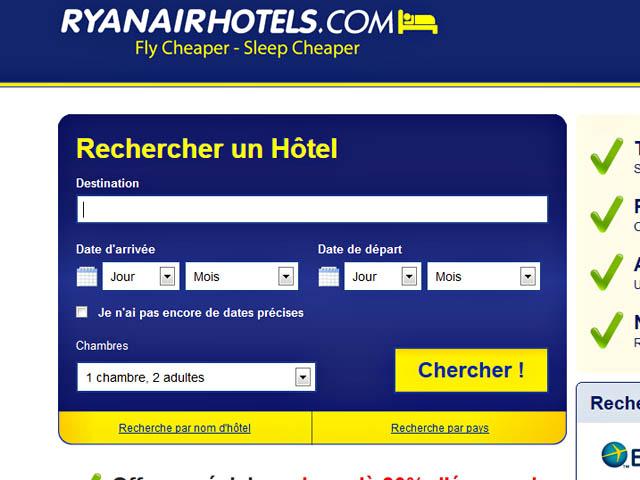 Ryanair lance son nouveau site de recherche d h tels air for Site des hotels